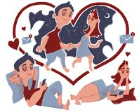 Lovey-dovey are chating. royalty free illustration
