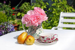 Lovey Summer gareden. With pink roses and pears on white table Stock Image
