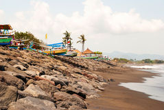 Lovina beach with typical indonesian boats, Bali Stock Images