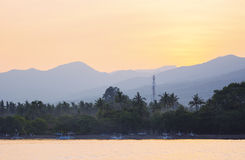 Lovina plaży krajobrazu widok od morza przy świtem, Bali Zdjęcia Royalty Free