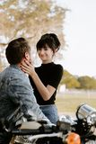 Loving Adorable Portrait of two Attractive Good Looking Young Adult Modern Fashionable People Guy Girl Couple Kissing and Hugging. Loving Adorable Portrait of royalty free stock photo