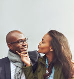 Loving African American couple on a date Stock Images