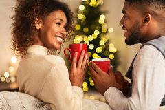Free Loving African-american Couple Drinking Tea Against Christmas Tree Royalty Free Stock Photo - 160626015