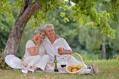 Loving aged couple Stock Photos