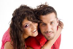 Loving american couple hugging Royalty Free Stock Photography