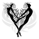 Loving angels. Tattoo design with a couple of two loving angels (a woman and a man) in a tribal heart Stock Images