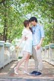 Loving asian couple under tree Stock Photos