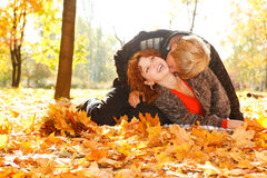 Loving autumn couple Royalty Free Stock Images