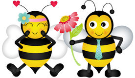 Loving bees. Scalable vectorial image representing a loving bees, isolated on white royalty free illustration