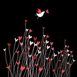 Loving bird on a dark background. With plants and hearts Royalty Free Stock Image