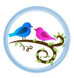 Loving birds on a branch, and pink heart icon logo. Animal nature, birds, love, illustration Vector Illustration