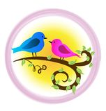 Loving birds on a branch, and pink heart icon logo. Animal nature, birds, love, illustration stock illustration