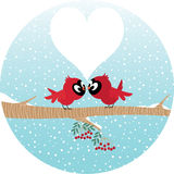 Loving birds on a branch. Stock vector illustration of love birds on a branch in winter forest stock illustration