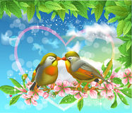Loving birds kissing on a branch. Cartoon illustration of two loving birds kissing on a blossom branch Stock Photos