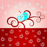 Loving birds-Wedding card, valentine card. Greeting card with cute love birds and hearts Royalty Free Stock Photography