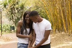 Loving Black couple walk in park Stock Photography