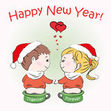 Loving boy and girl sitting on children's pots. Happy New Year greeting card, vector Stock Photography