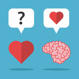 Loving brain, thinking heart. Brain loves heart and it thinks on blue background. Love, mind and emotion concept. Flat design. Vector illustration. EPS 8, no vector illustration