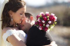 Loving bride and groom Stock Photos