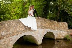 Loving on a bridge Royalty Free Stock Photo