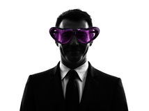 Loving business man with funny glasses silhouette Stock Photography
