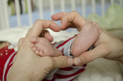 A loving and caring mother is holding the feet of her first new born baby Royalty Free Stock Image