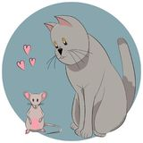 Loving cat and mouse with hearts Royalty Free Stock Images