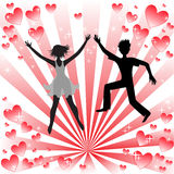 Loving couple. Silhouette of a loving couple on the radiant background Royalty Free Stock Image