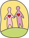Loving couple. Couple of sweethearts walking hand in hand Royalty Free Stock Photos