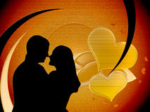 Loving couple. On background valentine  with heart Royalty Free Stock Photography