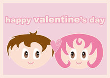 Loving Couple. A Valentine's day card showing a boy and a girl staring in each other's eyes on a pink background Stock Images