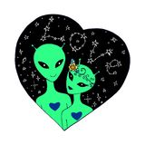 A loving couple aliens in starry sky. Stock Images