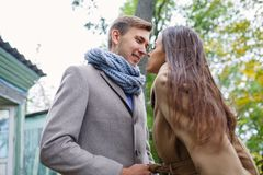 A loving couple in anticipation of a kiss. Royalty Free Stock Photography