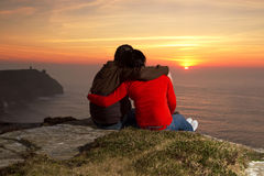 Loving Couple At Sunset Royalty Free Stock Images