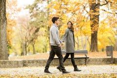 Loving couple in autumn park Royalty Free Stock Photos
