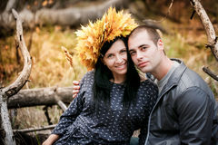 loving couple in the autumn park. Royalty Free Stock Photos