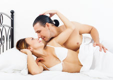 Loving couple awaking together Stock Photos