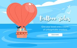 Loving Couple in Basket, Rides Air Balloon Flying vector illustration