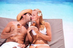 Loving couple on the beach Royalty Free Stock Photography