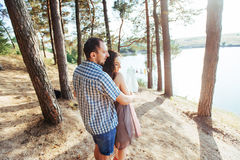 Loving couple on the beach near the water.  Royalty Free Stock Images