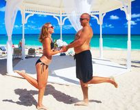 Loving couple on the beach Stock Photo
