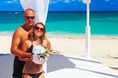 Loving couple on the beach Stock Photos