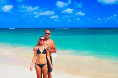 Loving couple on beach Stock Photos
