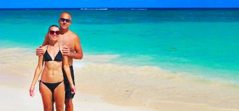 Loving couple on beach Stock Photo