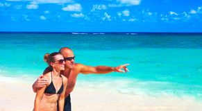 Loving couple on beach Stock Images