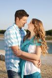 Loving couple at the beach Royalty Free Stock Image