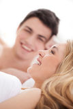 Loving couple in bed. Stock Photo