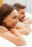 Loving couple in bed. Royalty Free Stock Photo