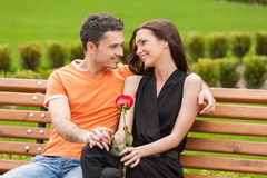 Loving couple on the bench. Royalty Free Stock Photo