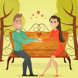 Loving couple on a bench in the park. Cartoon vector illustration Royalty Free Stock Photos